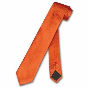 "Vesuvio Napoli Narrow NeckTie Solid BURNT ORANGE Paisley 2.5"" Skinny Neck Tie"