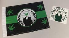 Anonymous 420 Weed Snokers Hempsec Hempsector Marijuana flag + Sticker Decal