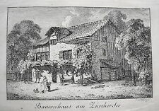 Zürich Bauernahus am Züricher See  Schweiz echter alter  Kupferstich 1820  Nr. 2