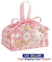 New JAPAN SANRIO Hello Kitty Cat Cute Pink Heart Lunch Box Drawstring Bag Purse