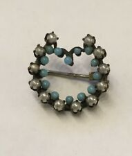 Antique Art Nouveau Seed Pearls Blue Beads  Brooch / Pin C Clasp