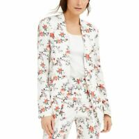 INC Women's Floral Linen-blend Lined Open Blazer Jacket Top TEDO