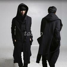 Punk Hooded Personality Outwear Fashion Men Gothic Long Black Trench Coat Jacket