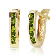 1 CTW 14K Solid Gold Oval Huggie Earrings Peridot