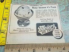 Old Advertising ad Meier's Ice Cream Dairy Milk Milwaukee WI Wis Wisconsin