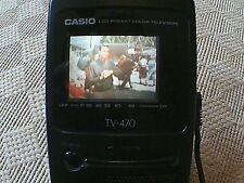 CASIO TV-470 colour LCD pocket television + mains charger : vintage & working