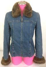 Jones New York Signature Women's Denim Front Zip Jacket Faux Fur Collar/Cuff- S