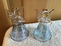 WOW! 2 Vintage Christmas Tree GLASS BLUE Angel Halo ORNAMENTs Decorations CUTE!