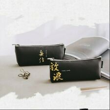 1X Black Faux Leather Pen Bag Pencil Case Pouch Random Chinese Character Pattern