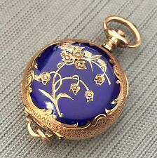 Antique Ladies Pendant Pocket Watch 14K Yellow Gold Diamonds Enamel Case Swiss