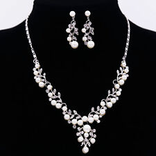 New Crystal Diamond Pearl Necklace Pendant Earrings Set Wedding Bride Jewelry UK