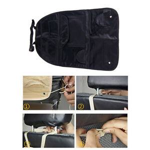 Multi-Pocket Car Seat Storage Bag Hanger Organizer Holder Carrier Headrest Black