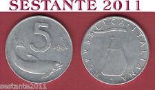 A50  ITALY ITALIA  REPUBBLICA ITALIANA  5 LIRE 1969  KM 92  SPL / XF