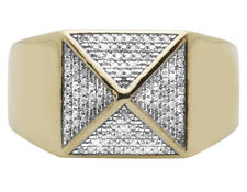 Men's 10K Yellow Gold Genuine Diamond 4-Sided Egyptian Pyramid Ring 0.50 Ct