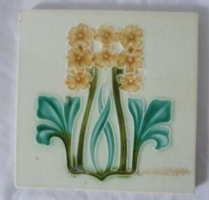 corn bros ART NOUVEAU FLORAL DESIGN c 1900s  6 INCH TILE