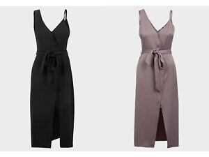 Womens RIVER ISLAND Sleeveless Sateen Dress with Belt - UK Size 8 10 12 14 16