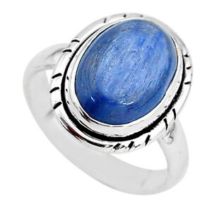 6.48cts Solitaire Natural Blue Kyanite 925 Sterling Silver Ring Size 7.5 T2450