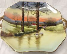 NORITAKE HANDLED CAKE PLATE CREEK STREAM SCENE SWAN WHITE DUCK TREE RED BUILDING