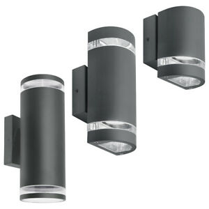 LED Single or Double Outdoor Garden Wall Lights Graphite GU10 Wall Lamps