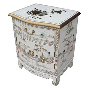 MOTHER OF PEARL ORIENTAL FURNITURE - HANDMADE WHITE LACQUER LAMP TABLE