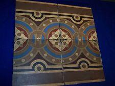 Antique Art Deco 4 Piece Tile Medallion by Villeroy & Boch Mettlach