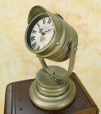 Standuhr Scheinwerfer Look Retro Landhaus Tischuhr Metall Kaminuhr Uhr MU639-b