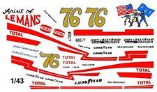 #76 Rick Mancusco Greenwood Corvette 1976 1/43rd Scale Slot Car Waterslide Deca
