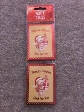 24 Metallic Special Wishes Teddy Christmas Tags , Present Tags
