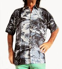 "LOUD Hawaiian shirt, black with palms & surfs, M, 50"", Stag Night, party, new"