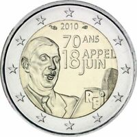 France, 2 Euro, 2€, Charles De Gaulle, 70th Anniversary, June 18th Appea, 2010,