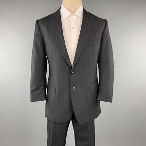 DOLCE & GABBANA 42 Regular Black Wool Peak Lapel Suit