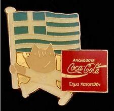 Mascot Cobi with flag ~Olympic Pin Badge~Greece~1992 Barcelona~Sponsor Coca-Cola