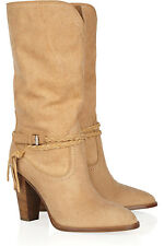 Ralph Lauren Collection Nala Camel midcalf Cuero Navajo Botas 8.5 6 £ 810!