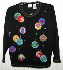 Christmas Sweater Ornament Bobbie Brooks Small Black Colorful Ramie Cotton Ugly
