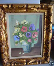Original Vintage Oil Painting Flowers SIGNED C MOLLER