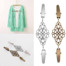 Vintage Women Shirt Dress Collar Sweater Cardigan Scarf Clip Clasp Chain Jewelry