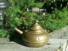 1800s S. Sternau & Co. Antique Brass Tea Kettle with Lid