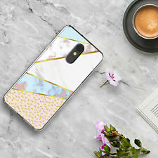 For LG Stylo 4 /Plus/Q Stylus Alpha Marble Leopard TPU Case+Black Tempered Glass