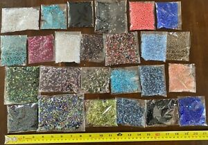 GLASS beads including Seed Beads and Glass Chip Beads - 25 packages - 3.8 pounds