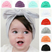 Baby Girls Bowknot Hats Cotton Turban Knot Stretchy Headwrap Newborn Toddlers