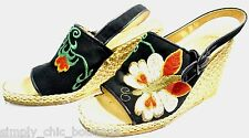 Edouard Jerrold Greece Platform Shoe Hand Embroidered wedge sandals SZ 8 AA VTG