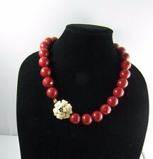 Stella & Dot Cream Enamel Bloom Flower Red Resin Beaded Statement Necklace 22 ""