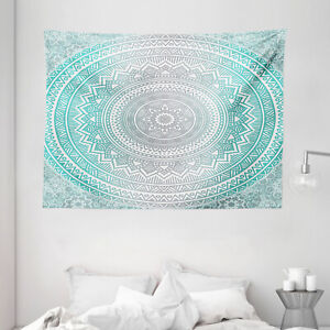 Grey and Aqua Tapestry Tribe Mandala Zen Print Wall Hanging Decor 80Wx60L Inches
