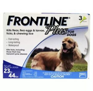 Frontline Plus for Dogs 23-44 lbs - BLUE 3 MONTH//3 DOSES