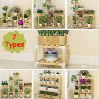 Indoor Outdoor Wooden Plant Stand Shelf Garden Planter Flower Pot Stand  ~