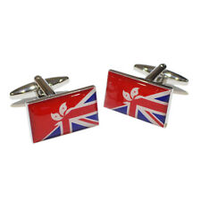 Union Jack UK British & Hong Kong Konger Kongese Flag CUFFLINKS Present GIFT BOX