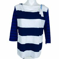 Crown & Ivy Blue White Stripes Cotton Women Shirt. Size XXL. New With Tags