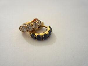 Estate Vintage 18K Yellow Gold Signed S K Sapphire Diamond Hoop Pierced Earrings
