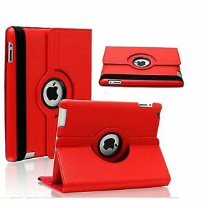 Red Leather 360° Rotating Stand Case For iPad AIR 2 / IPAD 6 UK FREE DISPATCH