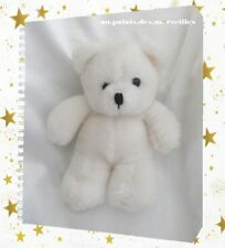 Doudou Peluche Ours Blanc Yeux Et Nez Noir 20 cm
